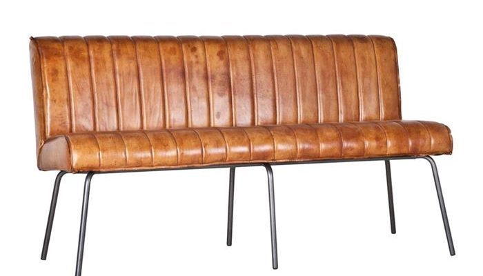 Eleonora Eetkamerbank 'Marvin, 200cm, kleur cognac leder   8719087018229