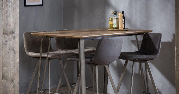 Industriële Bartafel 'Judy' 3D-eikenlook brownwash, 140 x 70cm | 8713244156328