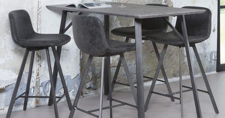 Industriële Bartafel 'Nola' MDF 140 x 70cm, kleur 3D-betonlook | 8713244156496