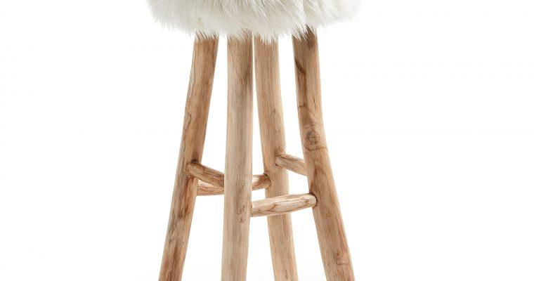 Kave Home Barkruk 'Numa' (zithoogte 76cm), kleur wit | 8433840406626