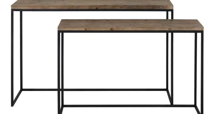 Light & Living Sidetable 'Camasca' set van 2 stuks, metaal zwart+hout | 8717807191665