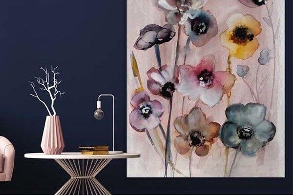 Urban Cotton Wandkleed Flowers in soft hues S 80x110cm   Urban cotton