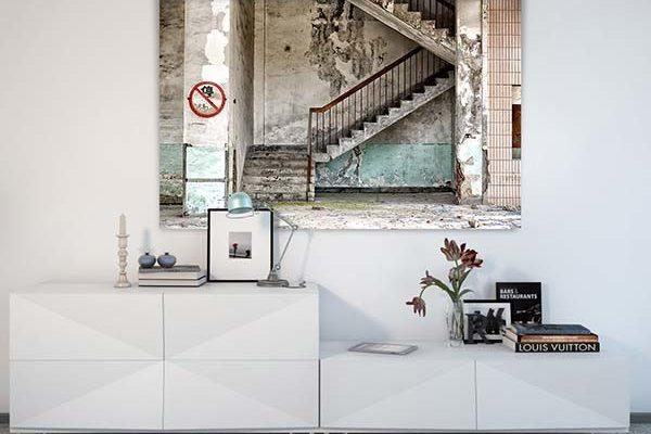 Urban Cotton wandkleed Concrete stairs 190x145cm | Urban cotton