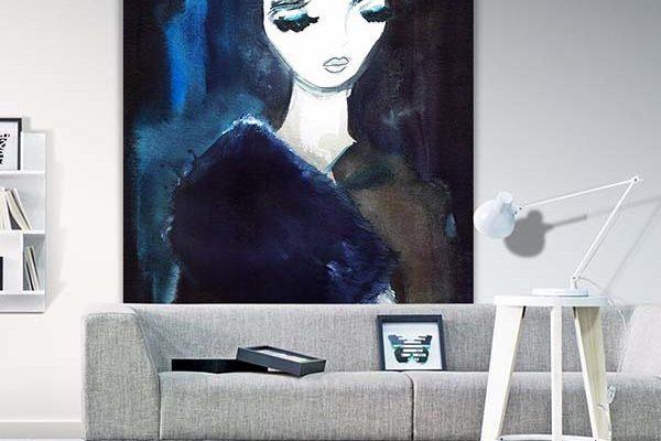 Urban Cotton wandkleed Lady in blue 110x152cm   Urban cotton