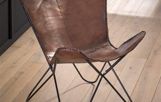 Vlinderstoel 'Danny' vintage leder, kleur bruin | 8713244036101