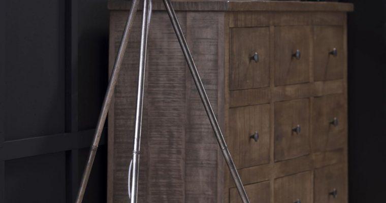 Vloerlamp 30 basket driepoot / Antiek Nikkel |