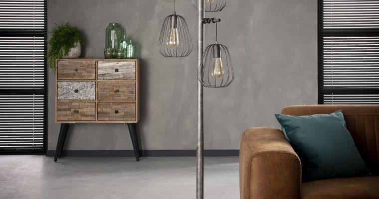 Vloerlamp 3L lampoon / Oud zilver |