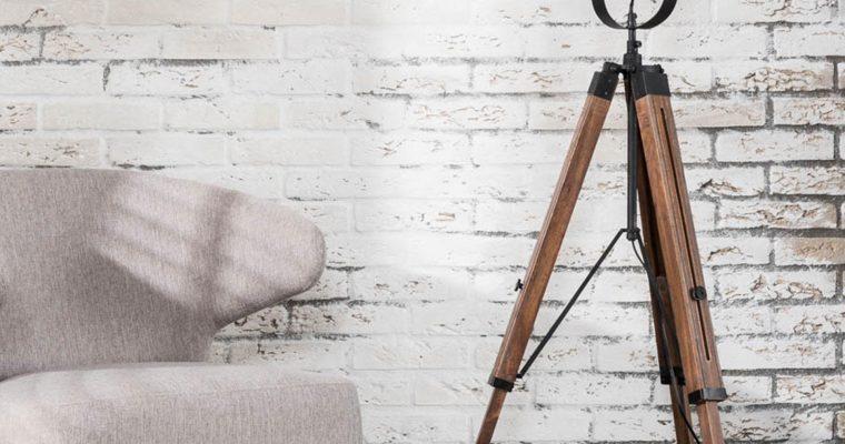 Vloerlamp Tripod vintage hout / Zwart |