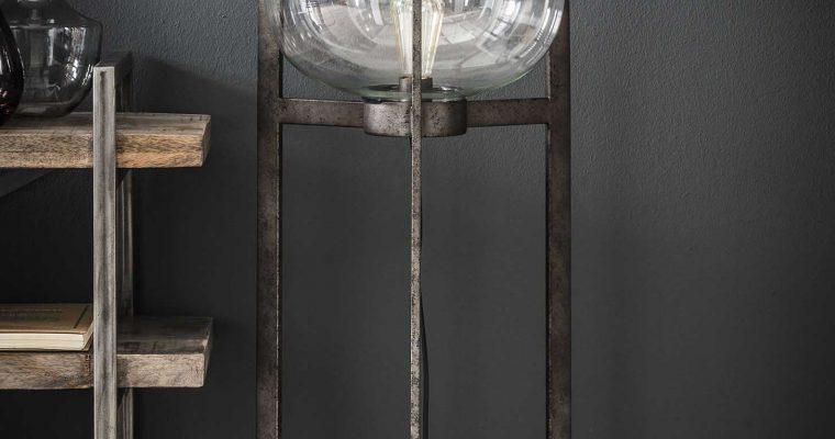 Vloerlamp glazen kap 3-poot / Oud zilver |