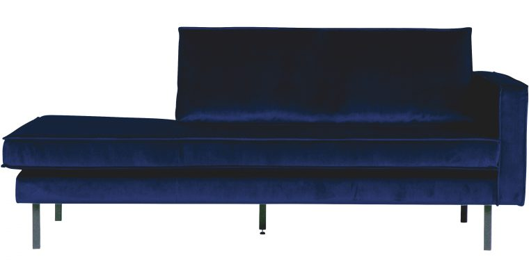 BePureHome Daybed 'Rodeo' Rechts, Velvet, kleur Donkerblauw | 8714713073429