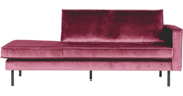 BePureHome Daybed 'Rodeo' Rechts, Velvet, kleur Roze | 8714713073528