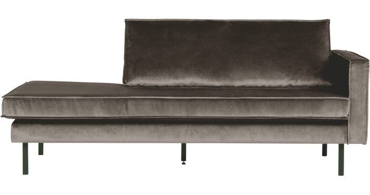 BePureHome Daybed 'Rodeo' Rechts, Velvet, kleur Taupe | 8714713073467