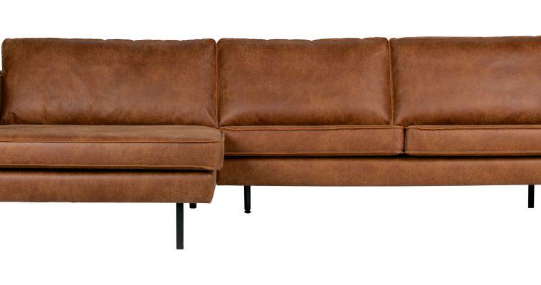BePureHome Loungebank 'Rodeo' Links, Eco Leder, kleur Cognac | 8714713083114