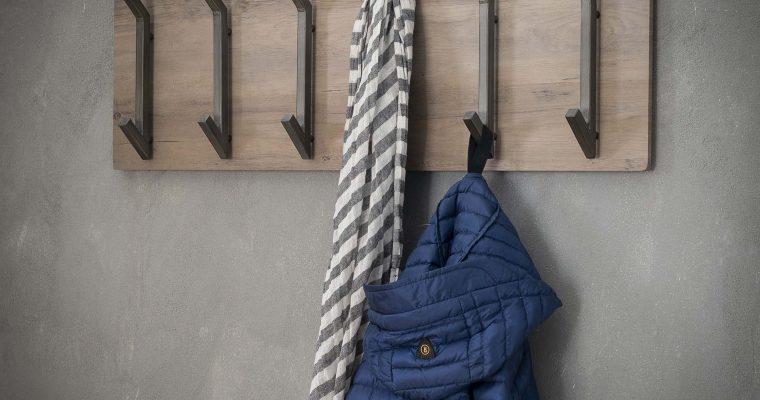 Kapstok 'Kieran' 90cm, met 2 x 6 haken, kleur Greywash | 8713244055607