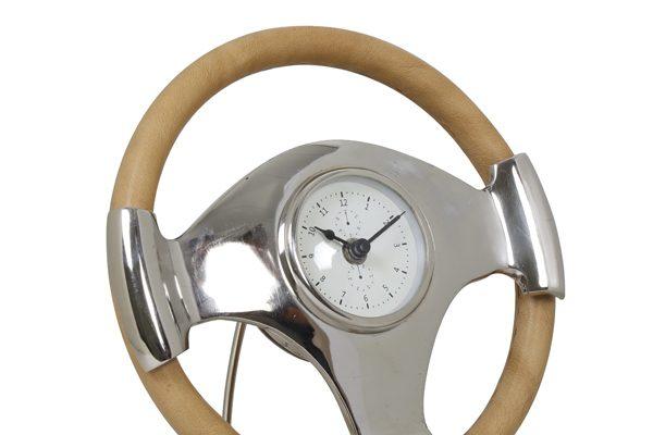 Light & Living Klok 'Steering', staand nikkel-leer   8717807095338