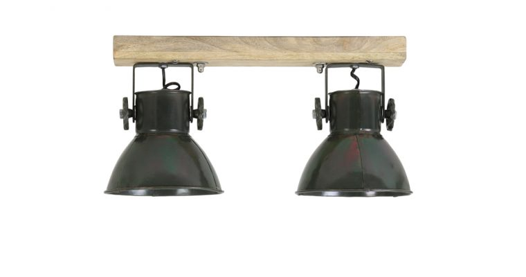 Light & Living Plafondspotjes 'Elay' 2-Lamps, hout-leger groen | 8717807227180