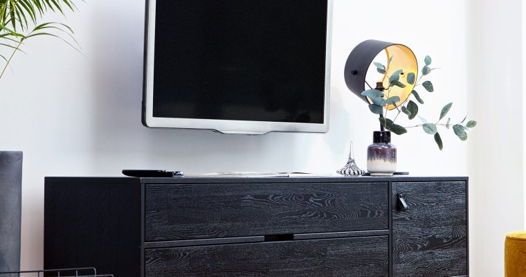 WOOOD TV-meubel 'Silas' Eiken 180cm, kleur geborsteld Blacknight   8714713077861