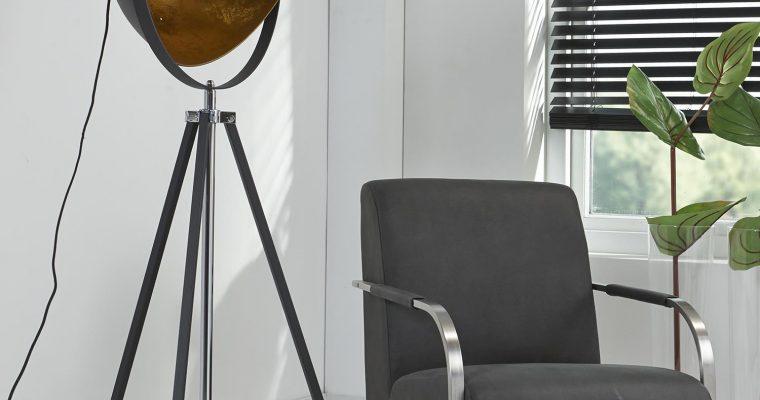 Vloerlamp 1L 3-poot schijnwerper / Zwart |