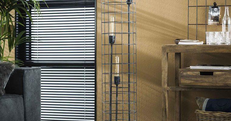 Vloerlamp 3L 31 gaas houten voet / Grijs |