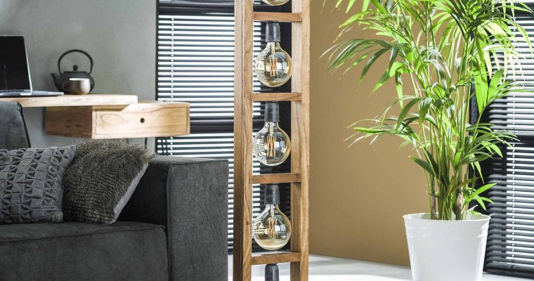 Vloerlamp 5L modulo houten frame / Massief acacia naturel |