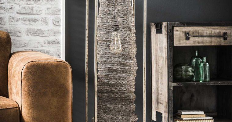 Vloerlamp rechthoek mesh hangend / Antiek Nikkel |