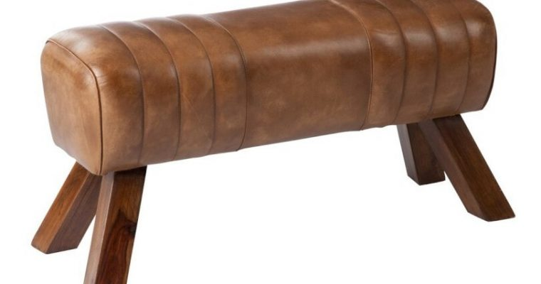 J-Line Bankje 'Marten' Leder 87cm, kleur cognac   5415203650085