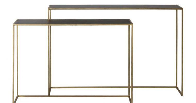 Light & Living Sidetable 'Boca' Set van 2 stuks, matzwart wash-goud | 8717807193287