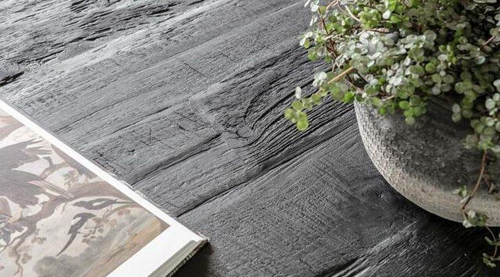 24Designs Beam Black Salontafel 150x50x35 – Gerecycled Teakhout Zwart Gebeitst | 8720146585576