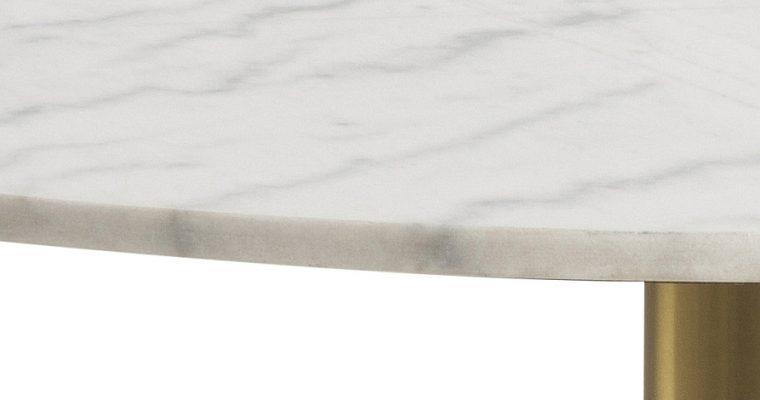 24Designs Bellino Ronde Tafel -Ø105×75 Cm – Wit Marmer – Geborsteld Messing Onderstel |
