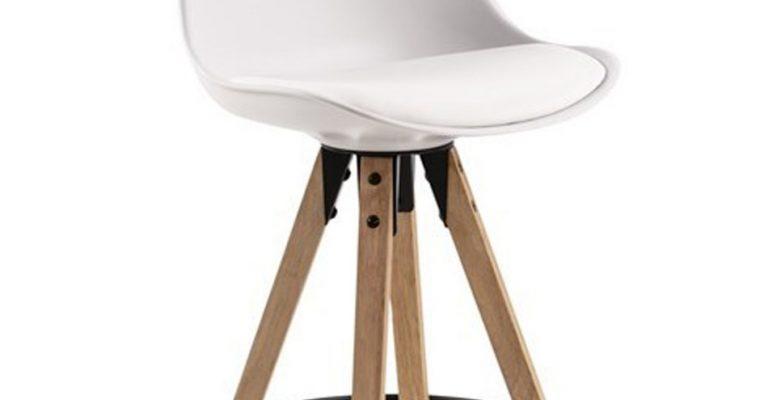 24Designs DEX Barkruk – Set Van 2 – Zithoogte 65 Cm – Wit – Houten Poten |