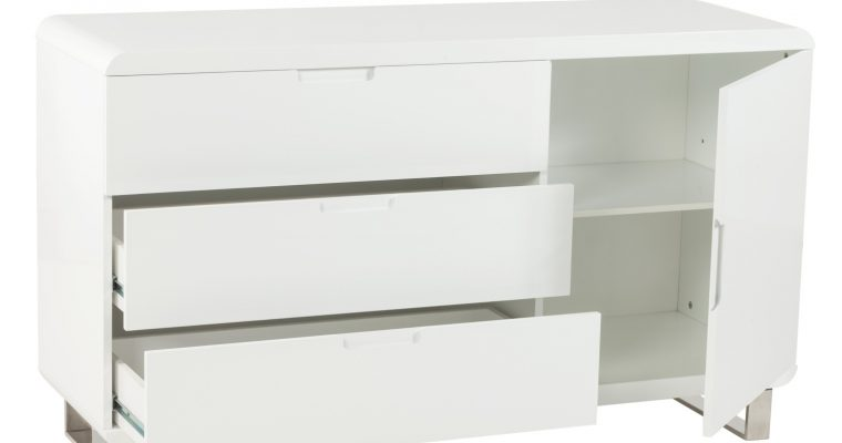 24Designs Dressoir Tindra – 135x45x80 – Wit Hoogglans | 8718692422582