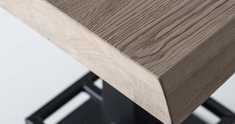 24Designs Luke Countertafel – 80x80x94 – Tafelblad Zwart Eiken – Zwart Metalen Onderstel   8720143247446