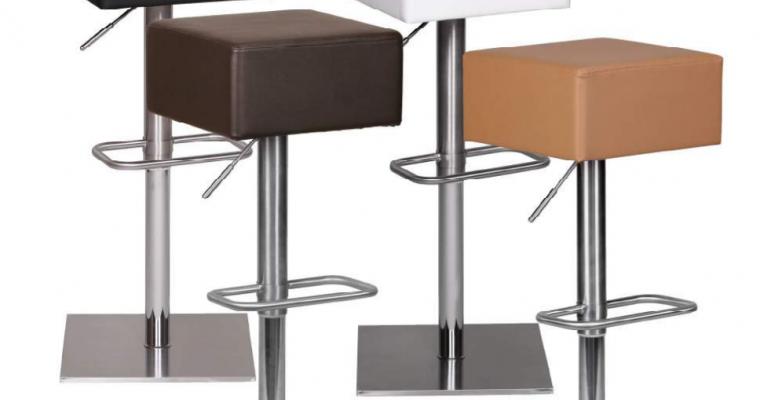24Designs Miami Verstelbare Barkruk – Bruin Kunstleer – RVS Onderstel | 8719874345613