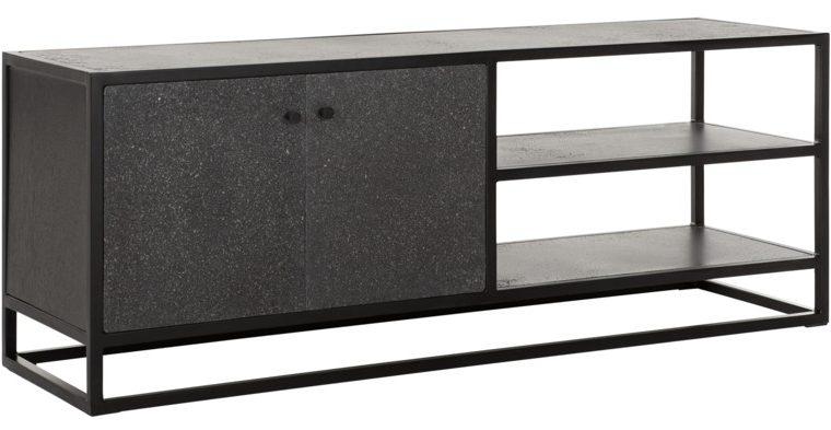 24Designs Mont Ventoux TV-Meubel – 140x40x50 – Donkergrijs Bazalt – Metalen Frame   8720146540223