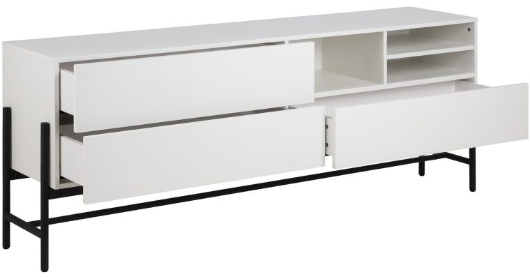 24Designs Norway Dressoir 3-Laden/3-Vaks – 185x42x70 – Wit   8720143242823