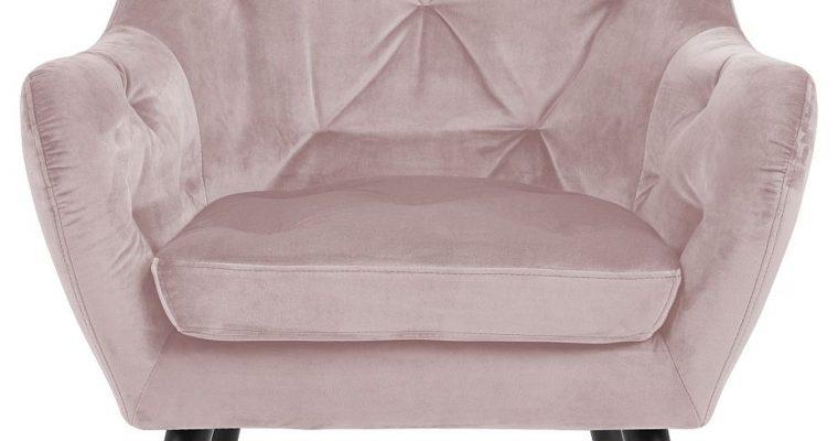 24Designs Sabrina Fauteuil – Fluweel Poederroze – Zwarte Houten Poten | 8720143245220