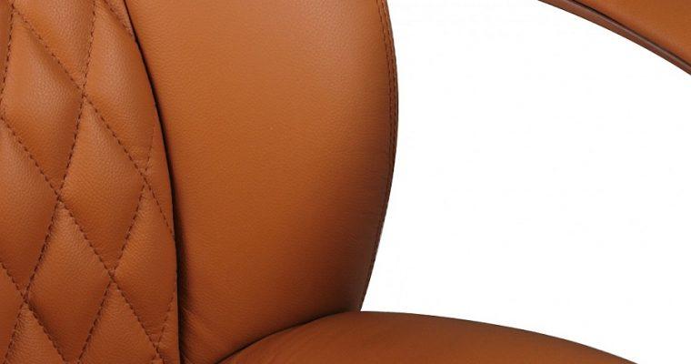 24Designs Santino Bureaustoel – Cognac Leer – Aluminium Kruispoot Met Wielen | 8720143245602