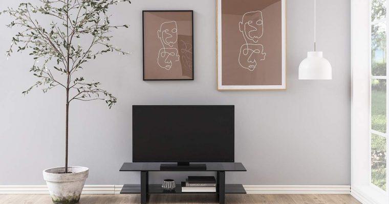 24Designs Serenity TV-meubel – B120 X D45 X H32 Cm – Smoke Glas – Mat Zwart Metaal   8720143247286