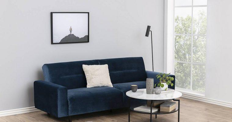 24Designs – Slaapbank Sirolo – Donkerblauw Fluweel – Donkere Houten Poten | 8720143242571