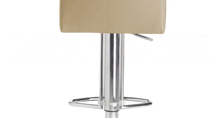24Designs Verstelbare Barkruk Ray – Beige Leer – Chromen Onderstel | 8719172340143