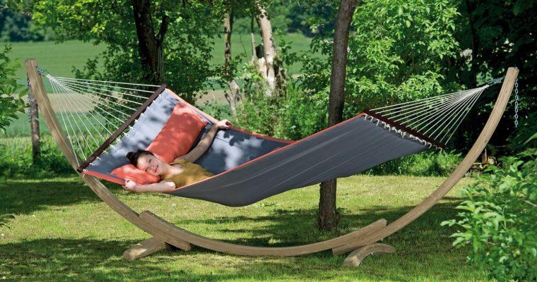 Amazonas Hangmat Set American Dream Grijs + Luxe Houten Standaard | 4030454005340