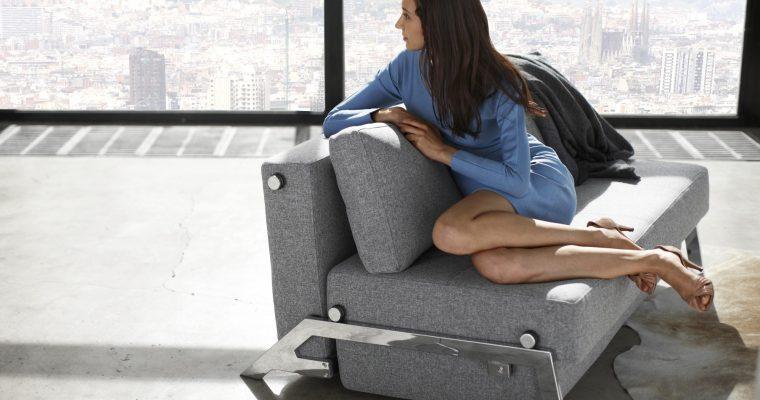 Innovation Slaapbank Cubed 140 – Twist 565 Grijs – Chromen Poten | 8720143240546