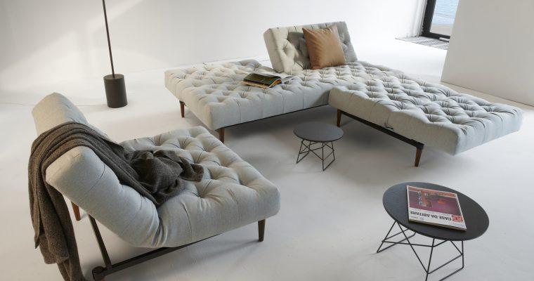 Innovation Slaapbank Oldschool – Styletto Donkere Poten – Soft Pacific Pearl 552 – Groen/Grijs | 8720143240829