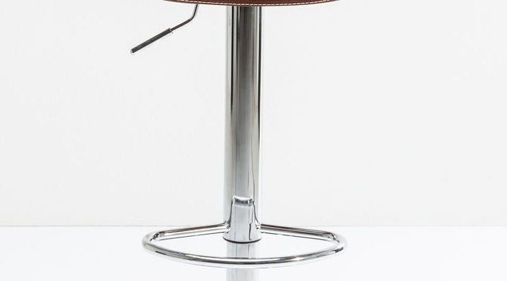 Kare Design Monaco Verstelbare Barkruk – Set Van 2 – Kunstleer Bruin – Chromen Onderstel | 8720143244506