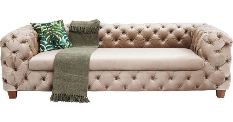 Kare Design My Desire Velvet 3-Zits Bank – 245 Cm – Ecru / Beige Fluweel | 4025621834366