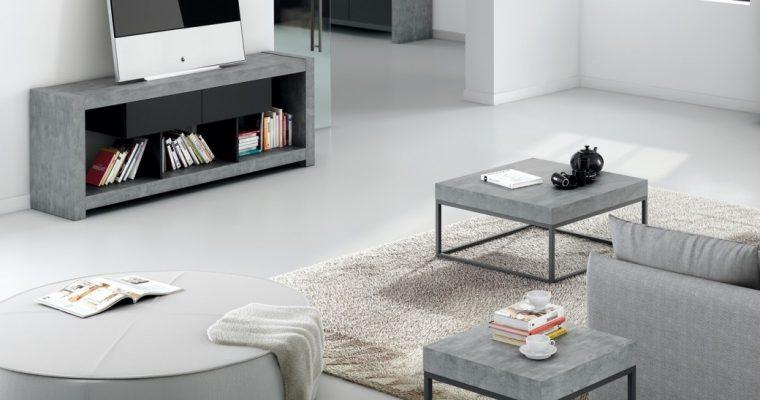TemaHome Salontafel Petra L55xB55xH53 – Grijs beton Look Tafelblad – Zwart Onderstel | 5603449629341