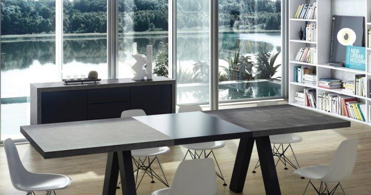 TemaHome Uitschuifbare Tafel Apex 200/250x100x76 – Grijs beton Look Blad | 5603449613173