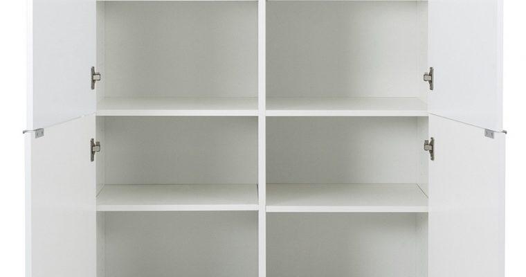Tenzo Cello Opbergkast 4-Deurs – 98x43x134 – Wit – Aluminium Poten | 8720195954477