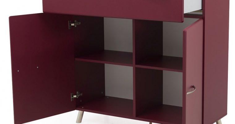 Tenzo Nova Ladekast 2-Deurs/1-Lade – 109x43x112 – Mat Bordeauxrood | 8720143246401