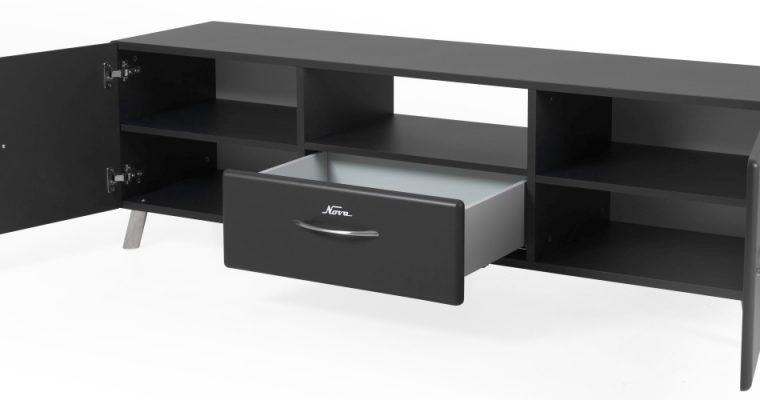 Tenzo Nova TV-Meubel 2-Deurs/1-Lade – 168x43x51 – Mat Antraciet Grijs   8720143246258